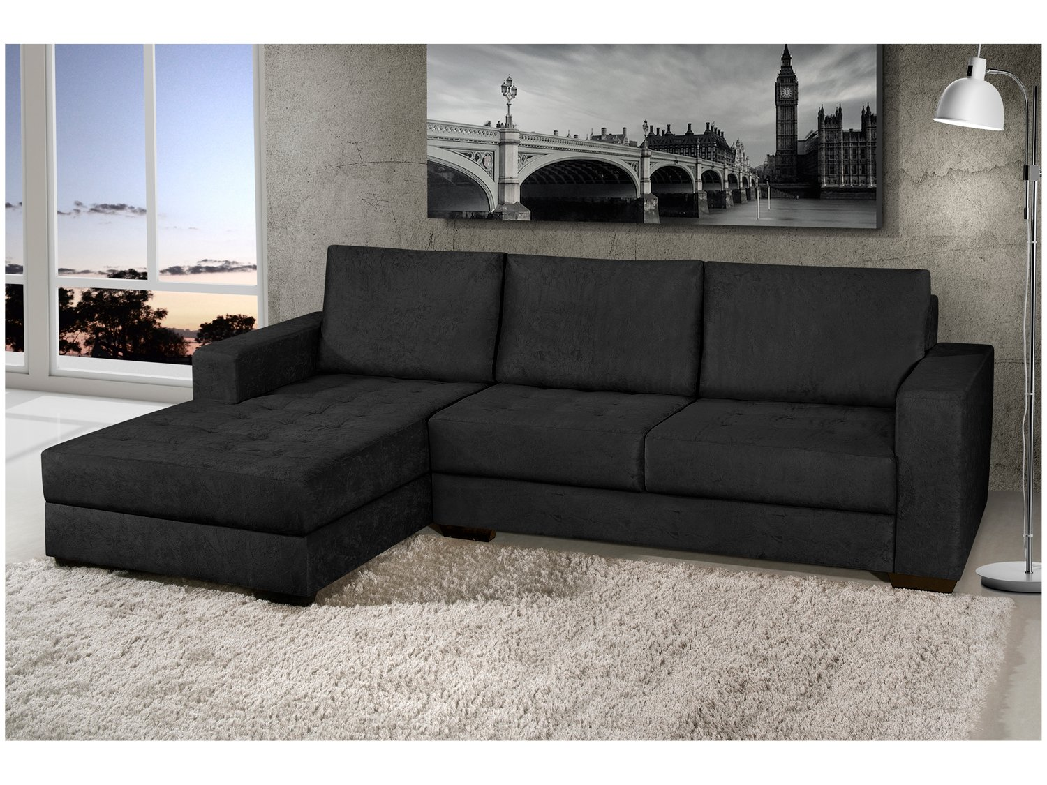 Sof chaise 2 lugares n pole american comfort sof s for Sofa 03 lugares com chaise