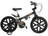 Bicicleta Infantil Batman Aro 16 Bandeirante Preto - Com Rodinhas Freio V-brake