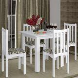 Conjunto Mesa de Jantar Com 4 Cadeiras Firenze Branco - Branco - Art in Móveis