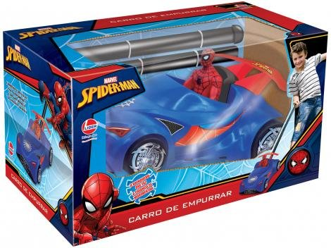 Carro Marvel Spider-Man de Empurrar  - Lider Brinquedos 2382 com Acessórios