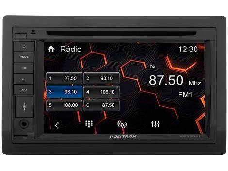 "Central Multimídia Pósitron SP8530BT LCD 6,2""  - Entrada para Câmera de Ré USB Bluetooth Micro SD"