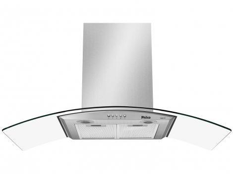 Coifa de Parede Philco 90cm 6 Bocas - com Vidro Curvo 3 Velocidades Glass 90