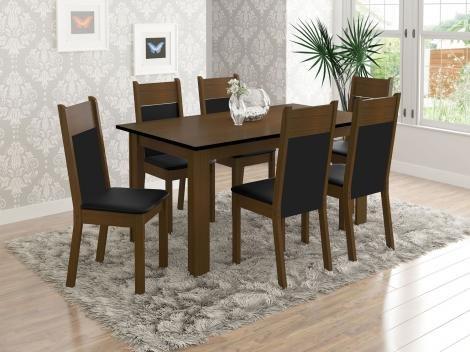 Conjunto de Mesa com 6 Cadeiras Estofadas - Madesa Madri