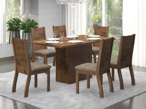 Conjunto de Mesa com 6 Cadeiras Estofadas - Viero Móveis Sherlock Napoli