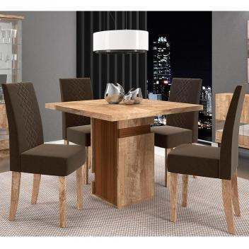 Conjunto de Mesa New Napoli com 4 cadeiras - Rústico York/Castanho BX - Dj Móveis