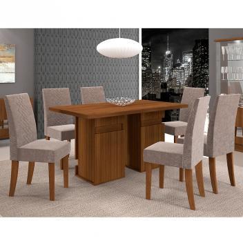 Conjunto de Mesa New Napoli com 6 cadeiras - Castanho BX - Dj Móveis