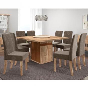Conjunto de Mesa New Napoli com 8 Cadeiras - Rústico York/Castanho BX - Dj Móveis
