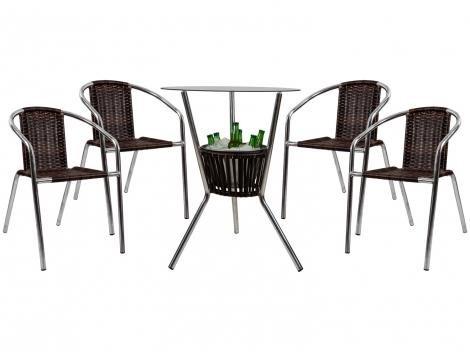 Conjunto de Mesa para Jardim/Área Externa - com 4 Cadeiras Alegro Móveis CJMB40199