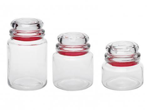 Conjunto Pote de Vidro Redondo 3 Peças com Tampa - Euro Home VDR1129-VM