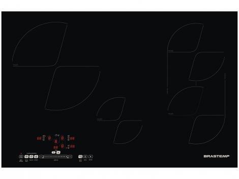 Cooktop 4 Bocas Brastemp BDJ80AEBNA Indução - Vitrocerâmico Timer Desligamento Automático