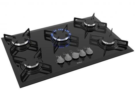 Cooktop 5 Bocas Philco Preto  a Gás Natural e GLP - Cook Chef 5