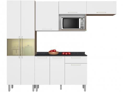 Cozinha Compacta Itatiaia Lya com Balcão - Nicho para Forno ou Micro-ondas 8 Portas 1 Gaveta