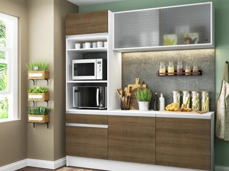 Cozinha Compacta Madesa Ametista G20086095Z - com Balcão Nicho para Micro-ondas 6 Portas