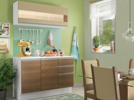 Cozinha Compacta Madesa Smart G20071097G - com Balcão 6 Portas 2 Gavetas 100% MDF