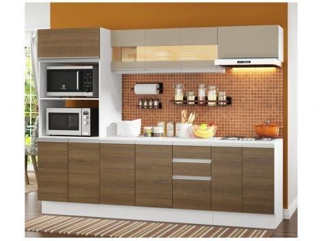 Cozinha Compacta Madesa Smart G20073097G - com Balcão 12 Portas 2 Gavetas MDF
