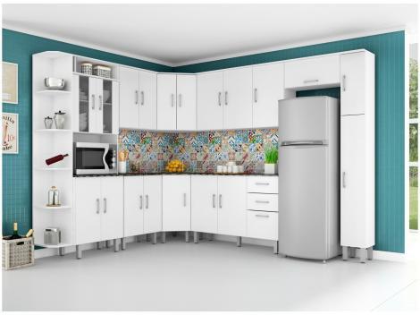 Cozinha Completa Poliman Móveis Suíça com Balcão - Nicho para Forno/Micro-ondas 20 Portas 2 Gavetas