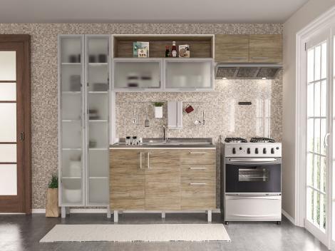 Cozinha Completa Politorno Floripa com Balcão - 8 Portas 3 Gavetas