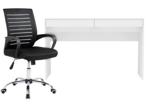 Escrivaninha Lindóia 2 Gavetas - Politorno + Cadeira de Escritório Giratória