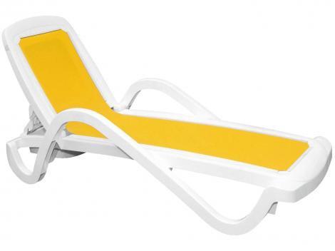 Espreguiçadeira de Plástico Branca e Amarela - Tramontina Classic Cancún
