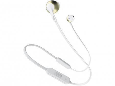 Fone de Ouvido Bluetooth JBL Tune 205BT  - Intra-auricular com Microfone Champagne e Branco
