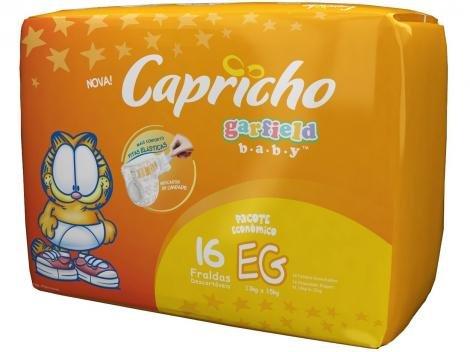 Fralda Capricho Garfield Baby Tam EG 16 Unidades - com Indicador de Umidade e Tecnologia Respirável