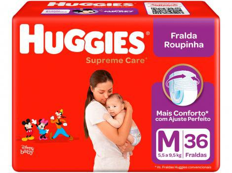 Fralda Huggies Turma da Mônica Supreme Care - Roupinha Tam. M 5,5 a 9,5kg 36 Unidades