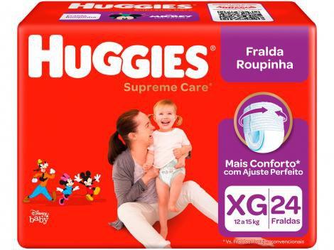 Fralda Huggies Turma da Mônica Supreme Care - Roupinha Tam. XG 12 a 15kg 24 Unidades
