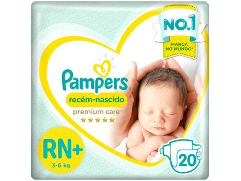 Fralda Pampers Premium Care RN+ - 20 Unidades