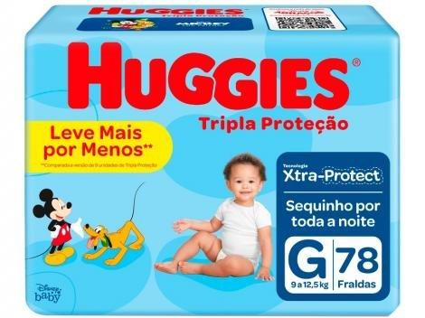 Fraldas Huggies Tripla Proteção Tam G - 78 Unidades Tecnologia Triple Sec