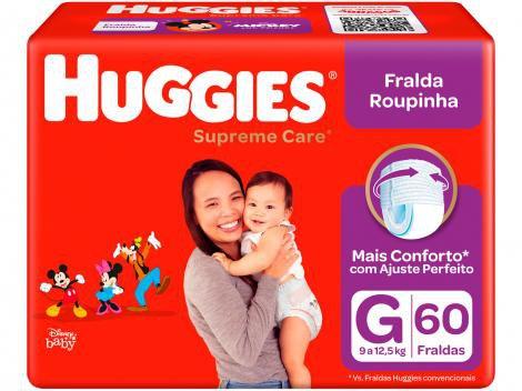 Fraldas Huggies Turma da Mônica Supreme Care - Roupinha Tam. G 60 Unidades Tecnologia MaxiSec