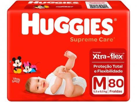 Fraldas Huggies Turma da Mônica Supreme Care - Tam. M 5,5 a 9,5kg 80 Unidades