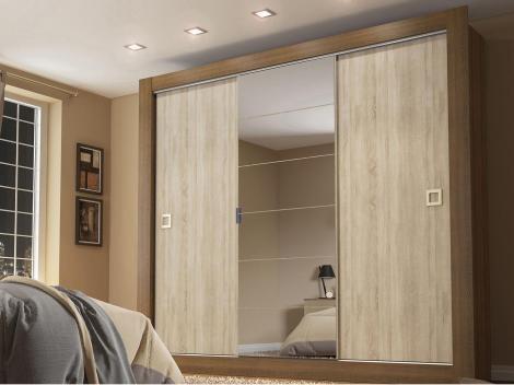 Guarda-roupa Casal 3 Portas de Correr 2 Gavetas - Madesa Pérola com Espelho
