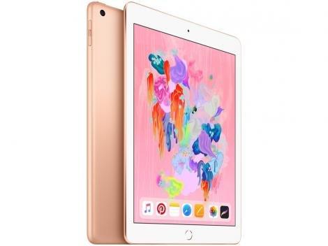 "iPad 6 Apple 32GB Dourado Tela 9.7"" Retina - Proc. Chip A10 Câm. 8MP + Frontal iOS 11 Touch ID"