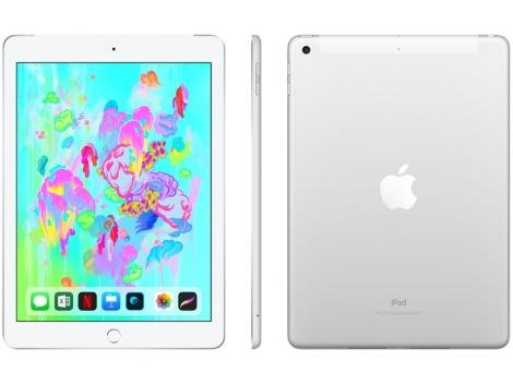 "iPad 6 Apple 4G 32GB Prata Tela 9,7"" - Retina Proc. Chip A10 Câm. 8MP + Frontal iOS 11"