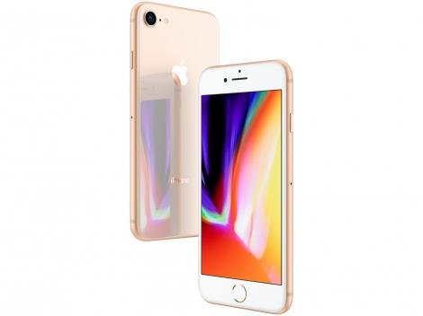 "iPhone 8 Apple 256GB Dourado 4G Tela 4,7"" - Retina Câm. 12MP + Selfie 7MP iOS 11"