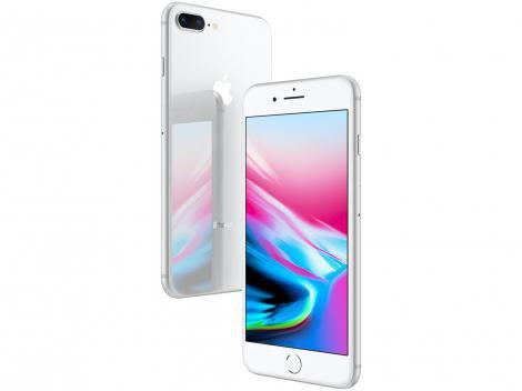 "iPhone 8 Plus Apple 256GB Prata 4G Tela 5,5"" - Retina Câm. Dupla + Selfie 7MP iOS"