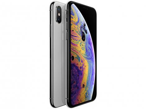 "iPhone XS Max Apple 64GB Prata 4G Tela 6,5"" Retina - Câmera Dupla 12MP + Selfie 7MP iOS 12"