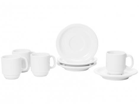 Jogo de Xícaras de Café Porcelana 4 Peças Schmidt - Basic 52910180070038102359