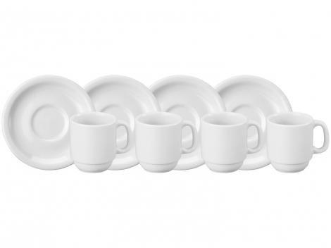 Jogo de Xícaras de Café Porcelana 70ml Schmidt - 4 Peças