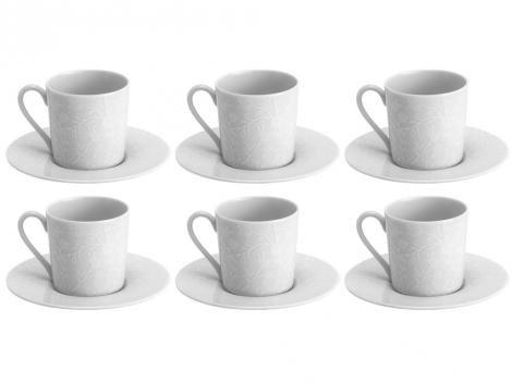 Jogo de Xícaras para Café Porcelana 6 Peças - Wolff Limoges Zen Fleur Des Neiges