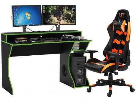 Kit Cadeira Gamer XT Racer Reclinável - Preta e Laranja + Mesa para Computador