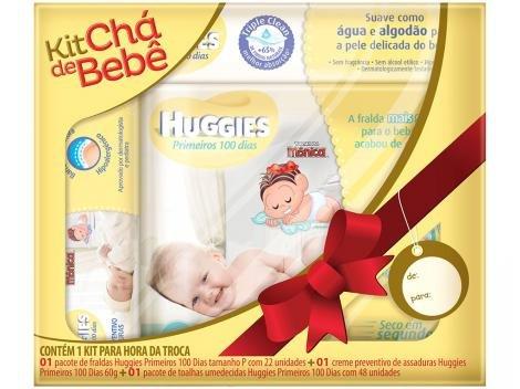 Kit Chá de Bebê Huggies Primeiros 100 Dias - Kit Chá de Bebê Recém-Nascido 22 Unidades