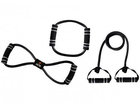 Kit Elástico Extensor para Exercícios com Pegador - Forte Acte Sports T21-B 3 Peças