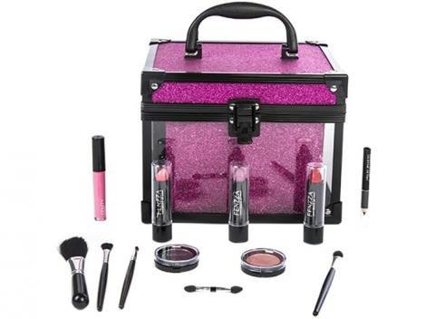 Maleta de Maquiagem Clear Pink Fenzza - 12 Itens