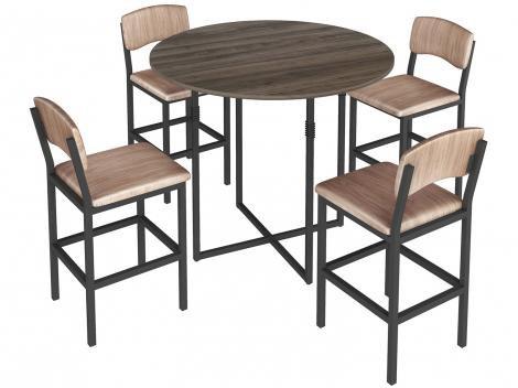 Mesa de Cozinha 4 Cadeiras Redonda Liz - Brastubo
