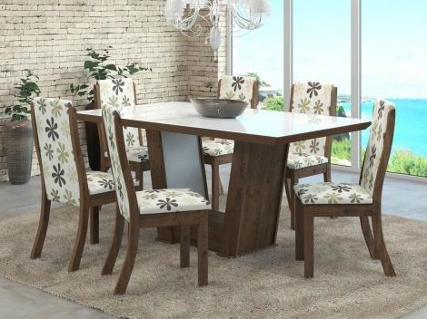 Mesa de Jantar 6 Cadeiras Retangular  - Viero Móveis House