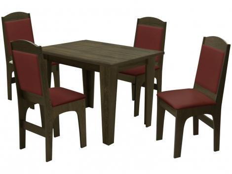 Mesa de Jantar com 4 Cadeiras Quadrada - Dobuê Movelaria Espanha