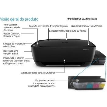 Multifuncional HP Deskjet GT 5822 Tanque de tinta - All in One Colorida WI-FI LCD