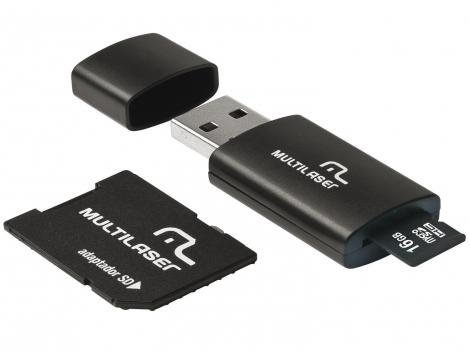 Pen Drive 16GB Multilaser MC112 - Adaptador SD