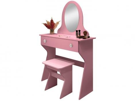 Penteadeira com Espelho Banqueta 1 Gaveta   - Móveis Estrela Ametista